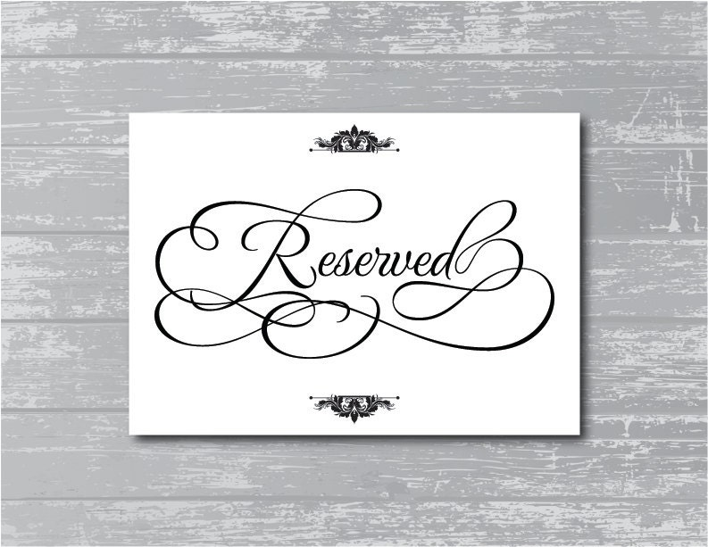 Ambitious image regarding printable reserved signs for wedding