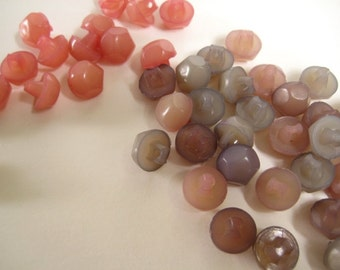 "700 Vintage Pastel Buttons -3/8"" Lot of Mixed Grey, Mauve, Pink, Purple Plastic Buttons"