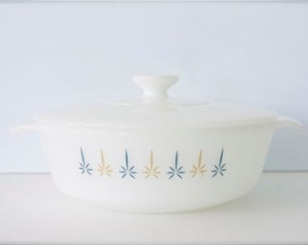 Vintage Fire KIng Atomic Candle Glow Casserole Dish with Lid