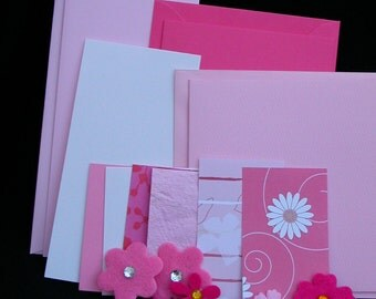 SALE Pretty in Pink- 3 blank cards kit in Pink and white- OOAK ready to ship