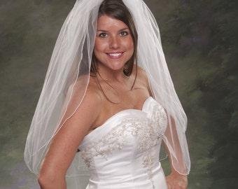 Fingertip Veils 2 Layer Light Ivory Bridal Veils Pencil Edge 34 Inch Ivory Wedding Veils 2 Tier Diamond White Bridal Veil Tulle