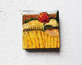 Wheat Harvest.  Original Oil Painting.  Tiny.  2x2.  Small.  Golden.  Fall Tree.  Autumn Decor.   Black Friday Sale 10% Cyber Monday