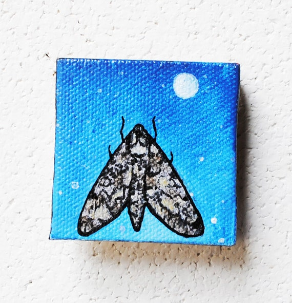 SALE: Moth and Moon  Insect Art. Original Oil Painting.  Dusk. Twilight