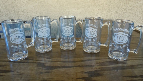 Wedding Gift Beer Mugs : ... Mugs - Name, Title, Date - Best Man Gift, Wedding Beer Mug, Father