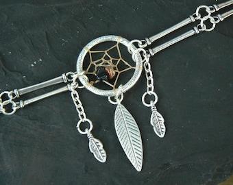metal dreamcatcher necklace tourmaline gypsy tribal boho hippie  native american inspired style