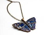 Butterfly pendant made of bronze with enamel finish in Blue - WingsAndStings