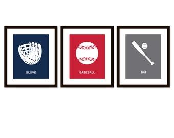 Baseball art prints - Set of 3 sports prints, Nursery art print - baseball - sports decor