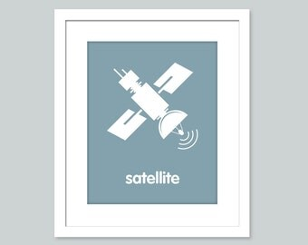 Outer Space Theme Nursery Decor 8 x 10 Childs Wall Art Print - Satellite Space Nursery Kids Room