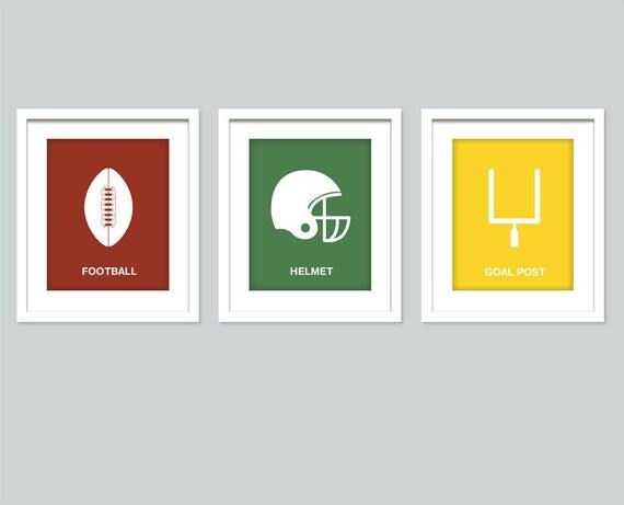 Football art prints - Set of 3 sports prints - 8x10 posters - Nursery art print sports decor