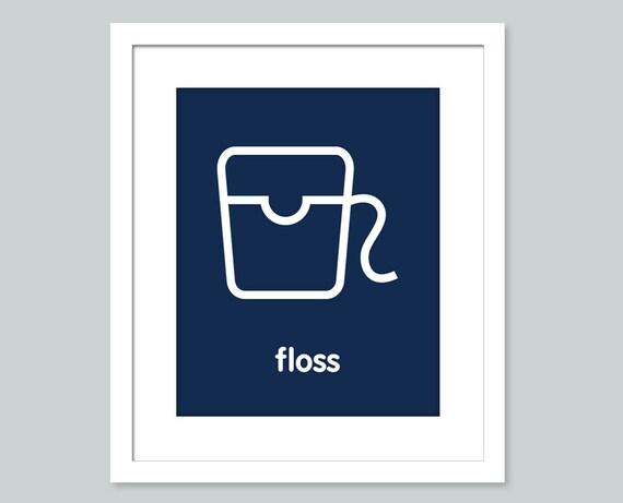 Bathroom Ideas 8 X 10 : Items similar to floss bathroom art print
