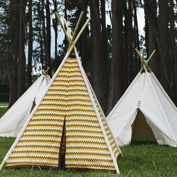 Cotton Teepee - With Bamboo Poles - Handmade Children's Play Tent - One of a Kind