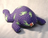 Softie Plushie Frog with Lady Bug Purple Polka Dots OR Toy Can Be Made Custom With Your Fabric