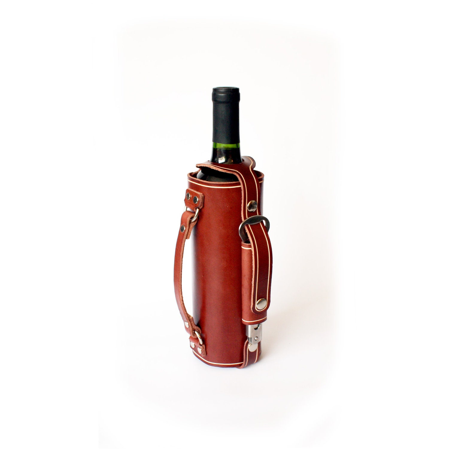 Leather Wine Bottle Holder With Stainless Steel Opener And