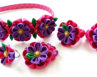 Kanzashi fabric  flowers. Set of 5 pieces. Fushia and purple.