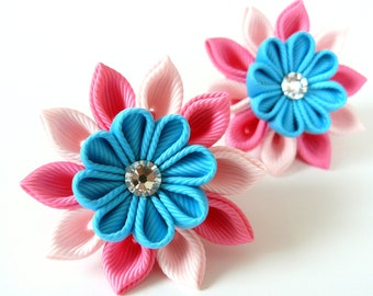 Kanzashi fabric flowers. Set of 2 ponytails . Pink and turquoise.