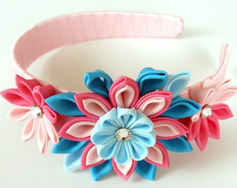 Kanzashi Fabric Flower headband.  Pink and turquoise.