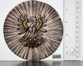 RESERVED, can be reproduced on order, Stained Glass Heraldic Fragment, Hand Painted Roundel, kiln fired, new fragment, Ref: 10A1