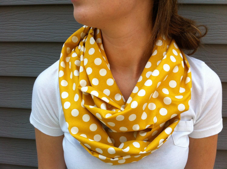 no 1 infinity scarf mustard yellow polkadot by