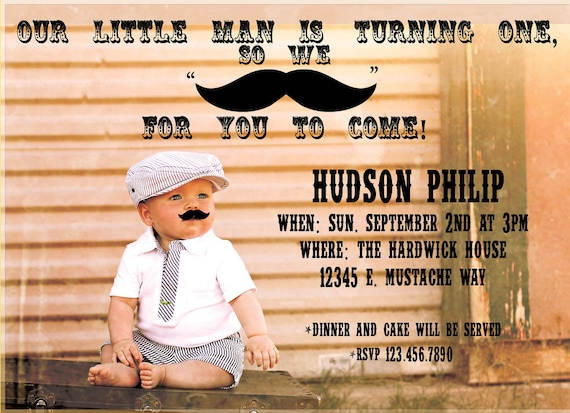 Little Man Mustache Bash Birthday Party Printable Invitation, 5x7 Personalized Little Man Boy's Birthday Invite