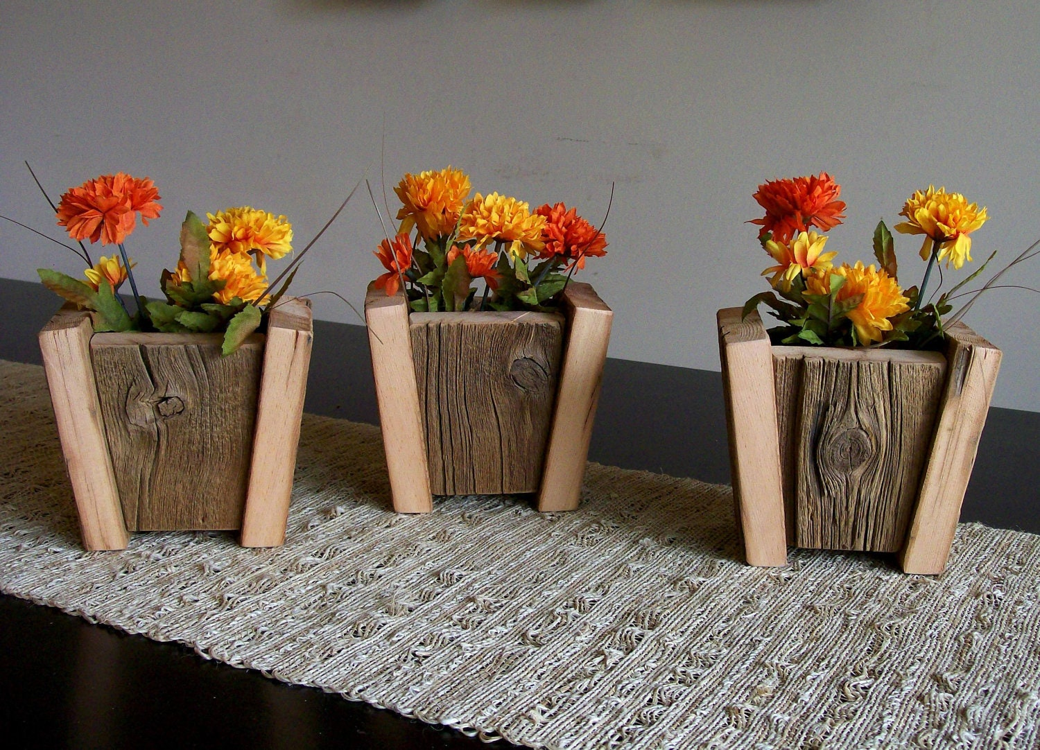 Set Of 3 Rustic Barn Wood Flower Pots