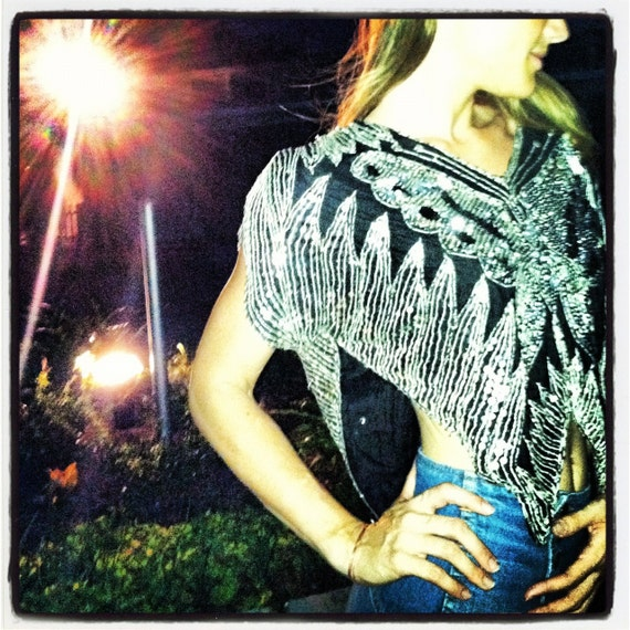 New years eve bling/ Sequin and silk  butterfly top/India/boho/hippie/flapper/boardwalk empire/flapper style/silk/butterfly
