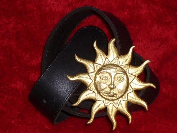 Vintage Black Belt Golden Sun