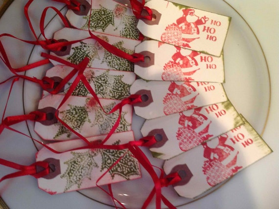Assorted Christmas Handstamped tags , Santa & Holly, Set of 10