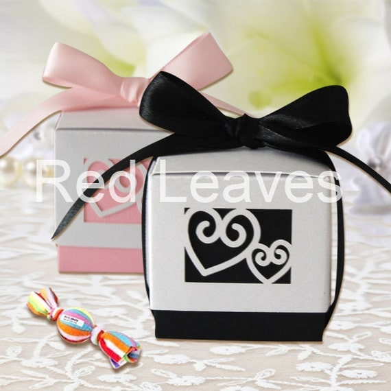 120pcs double heart Wedding Favor boxblack by ...
