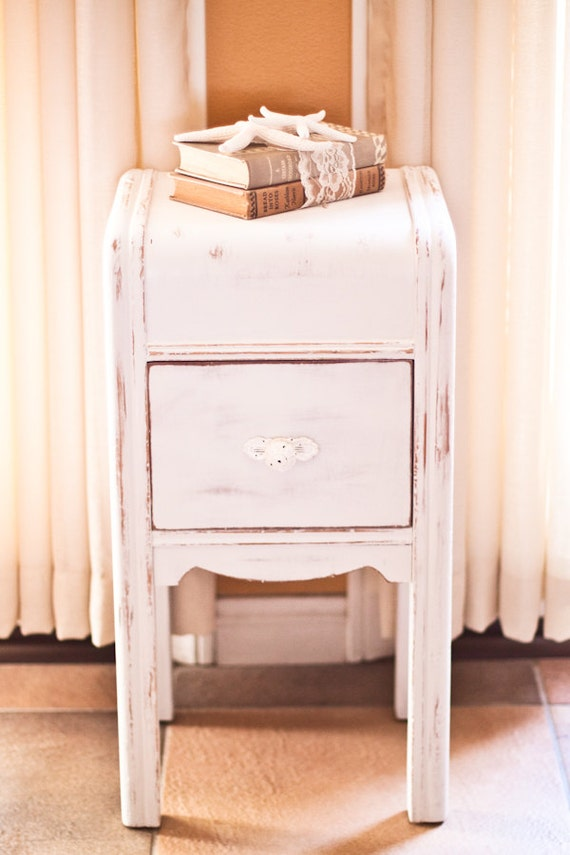 antique white shabby chic nightstand. Black Bedroom Furniture Sets. Home Design Ideas