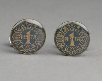 Cufflinks Wedding coins  peseta Spain