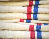 Beautiful Vintage French Red/Blue striped linen Tea Towels
