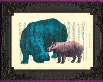 hippo art print blue hippo and baby pink hippo mother and daughter gift idea