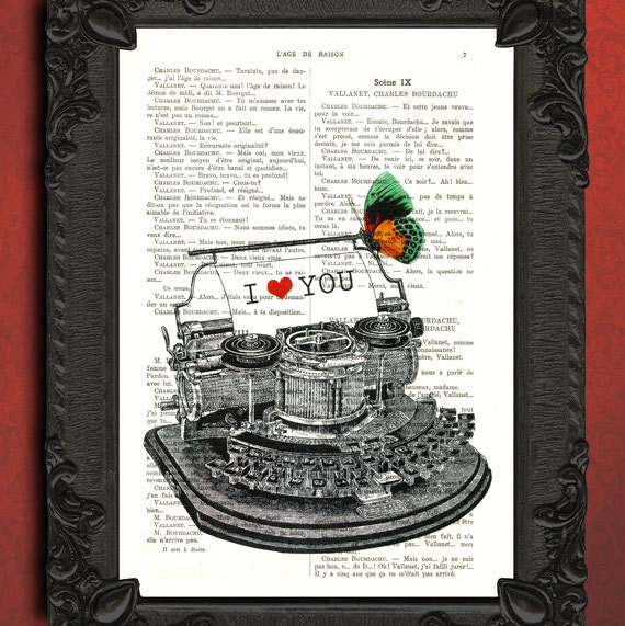 Typewriter print I love you vintage illustration, love letter digital prints, beautifully upcycled book page antique typewriter poster