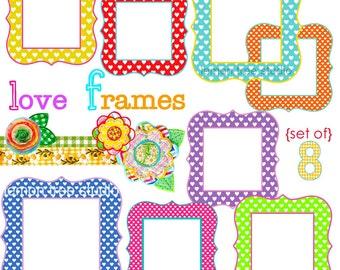 Digital Clip Art -- Love Frames (Instant Download)
