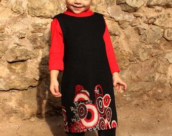 Girls wool dress black red circles autumn winter warm soft christmas/hmet/rusteam /etsy lush/ team madcap
