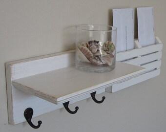 Shabby Chic Nautical Beach Cottage Key ring Mail holder Organizer Shelf Coat Towel Hat Rack Hanger Hooks in Distressed Whisper White