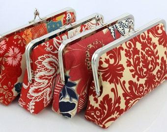 Red Bridesmaid Clutch / Bridal Clutch / Wedding Bag / Wedding Gift - Set of 5