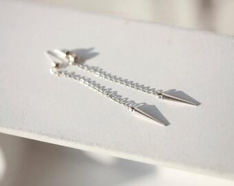 Silver Spike Earrings - Skinny Spike Dusters - Long Skinny SPike earrings