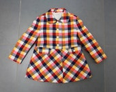 Fantastic little girls yellow-red-dark blue checked coat age 4 - oliviavintagekids