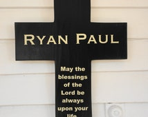 Boys baptismal cross Personalized Distressed Navy Pine Wood Cross with Dove Poem ( May the Blessing of the Lord) Baptism Gift girl