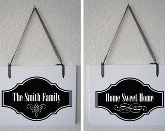 "Personalized Last Name and Home Sweet Home Double Sided Hanging Wood Sign 11""x9"" Decoration 1 double-sided Sign"