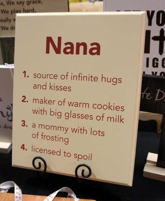NANA hug and kiss, cookies and license to spoil -saying - Solid Wood ...