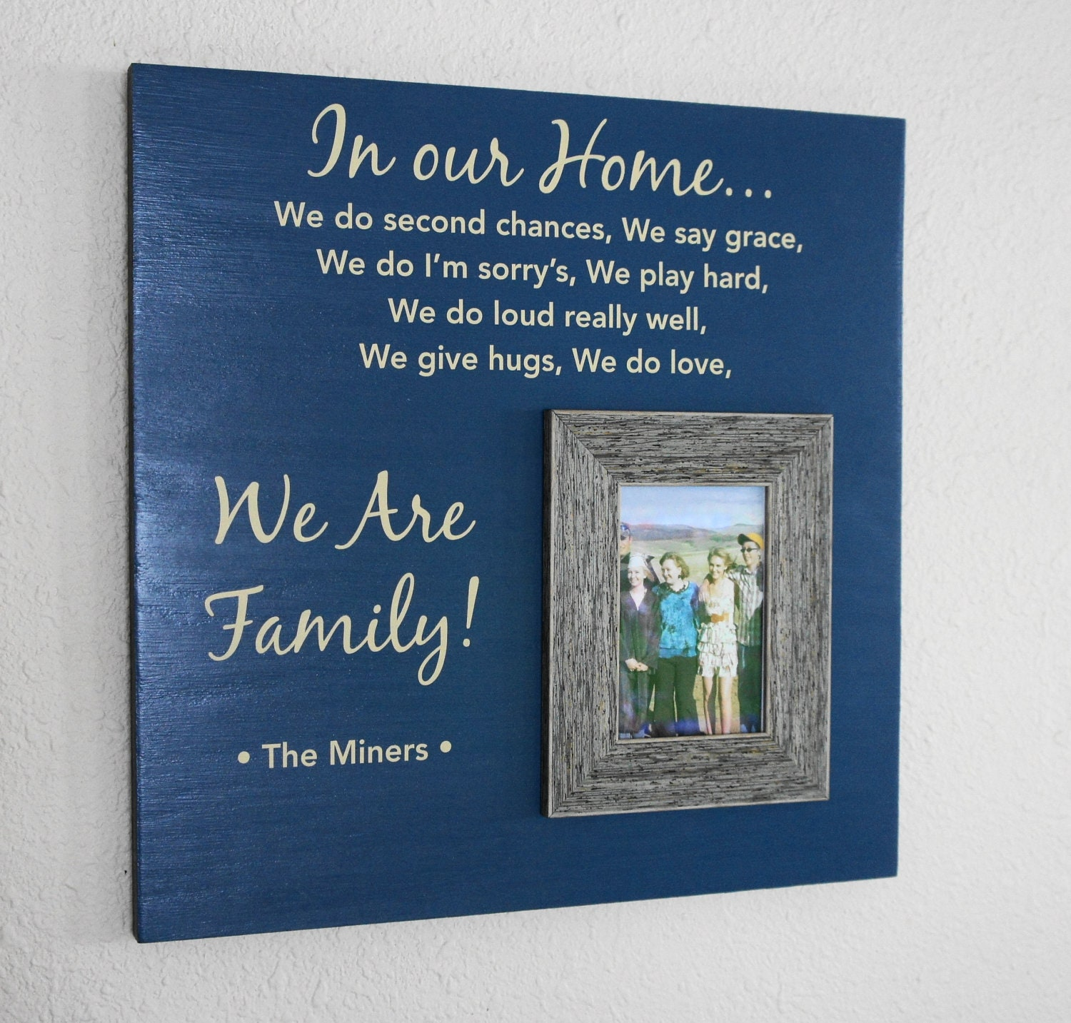 Family Rules In Our Home / We Do We Are Family Oak Blue