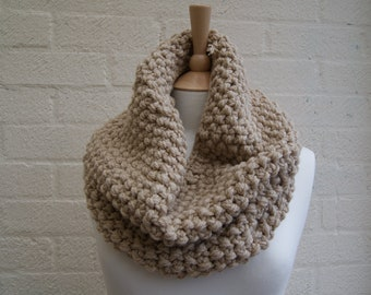 Knitted Chunky Snood, cowl, snood in beige, butterscotch, winter scarf