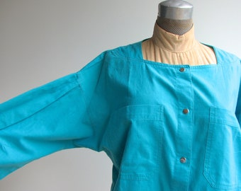 1970s Vintage Peasant Blouse / Turquoise Bohemian Top / Button-down Tent