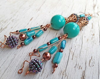Dramatic turquoise, blue vintage lucite, copper earrings