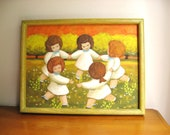 Vintage Little Girls Playing Ring around the Rosie Painting, Colorful Floral Girl Picture