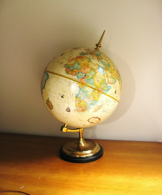 Vintage Replogle World Classic Series 12 inch World Globe, Brass or Gold Toned Stand, Antique Color