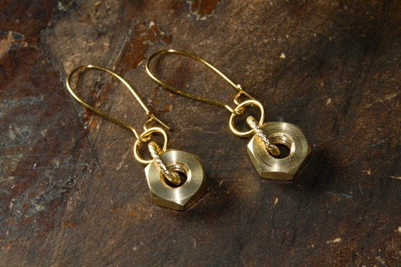 Hardware Inspired Earrings with Gold Tinted Brass Bolts