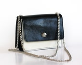 Black and white leather bag, Leather messenger purse, silver chain strap, Dalfia leather handbag, evening and everyday bag
